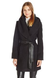 Via Spiga Women's Faux Alpaca Wrap With PU Belt
