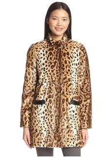 Via Spiga Women's Faux Fur Animal Print Coat