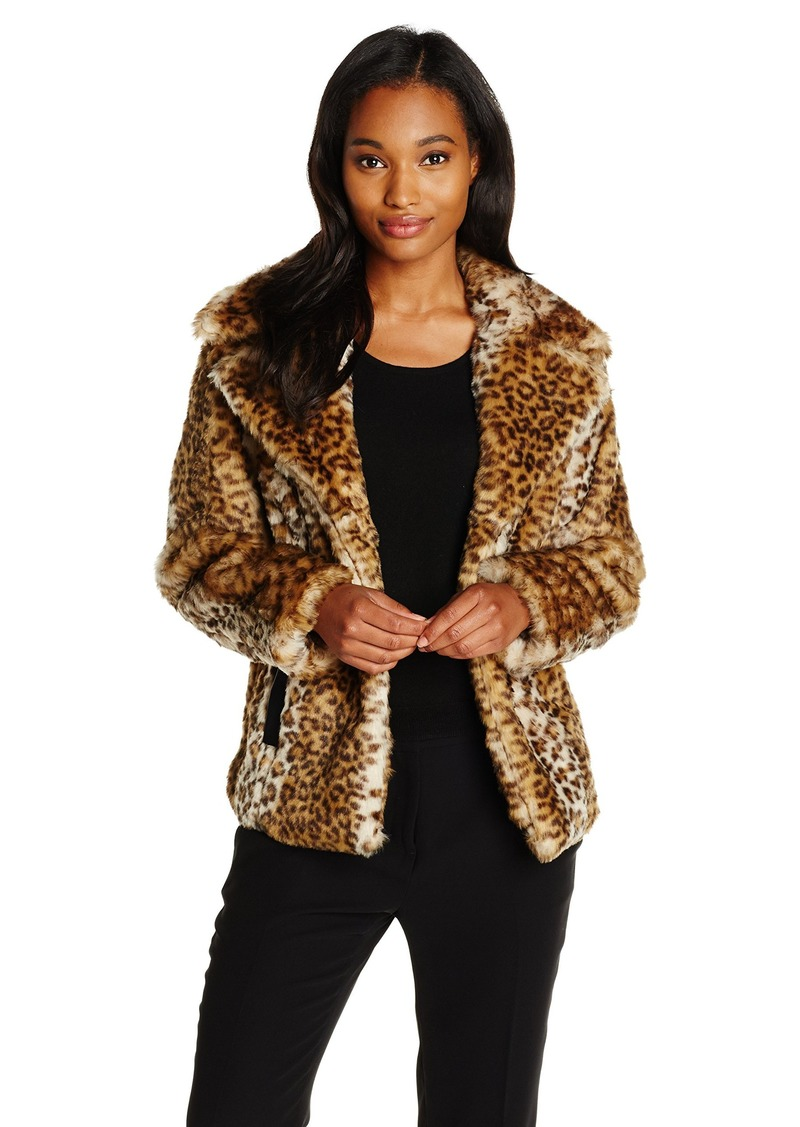 VIA SPIGA Women's  Faux Fur Jacket with Oversized Collar