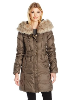 Via Spiga Women's Faux Fur Trimmed Exaggerated Hood Cinched Waist Puffer Coat