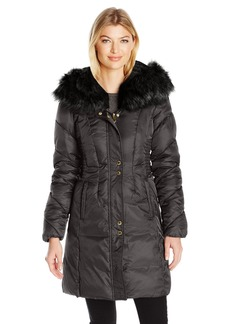Via Spiga Women's Faux Fur Trimmed Exaggerated Hood Cinched Waist Puffer Coat  S