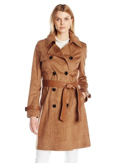 Via Spiga Women's Faux Suede Double Breasted Trench Coat  arge