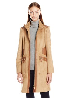 Via Spiga Women's Suede Faux Leather Detail Zip up Coat  X-Large