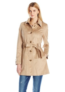 Via Spiga Women's Faux Suede Single Breasted Trench Coat  Medium
