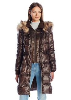 Via Spiga Women's Feather Free Cinch Waist Puffer Coat with Luxe Faux Fur Trim Collar