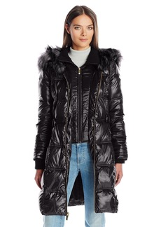 Via Spiga Women's Feather Free Cinch Waist Puffer Coat With Luxe Faux Fur Trim Collar