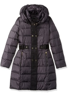 Via Spiga Women's Fiited Puffer Coat W Faux Wool Plkt Walker with Db Closure