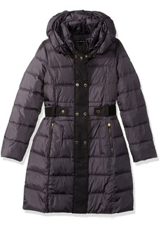 Via Spiga Women's Fiited Puffer Coat W Faux Wool Plkt Walker With DB Closure