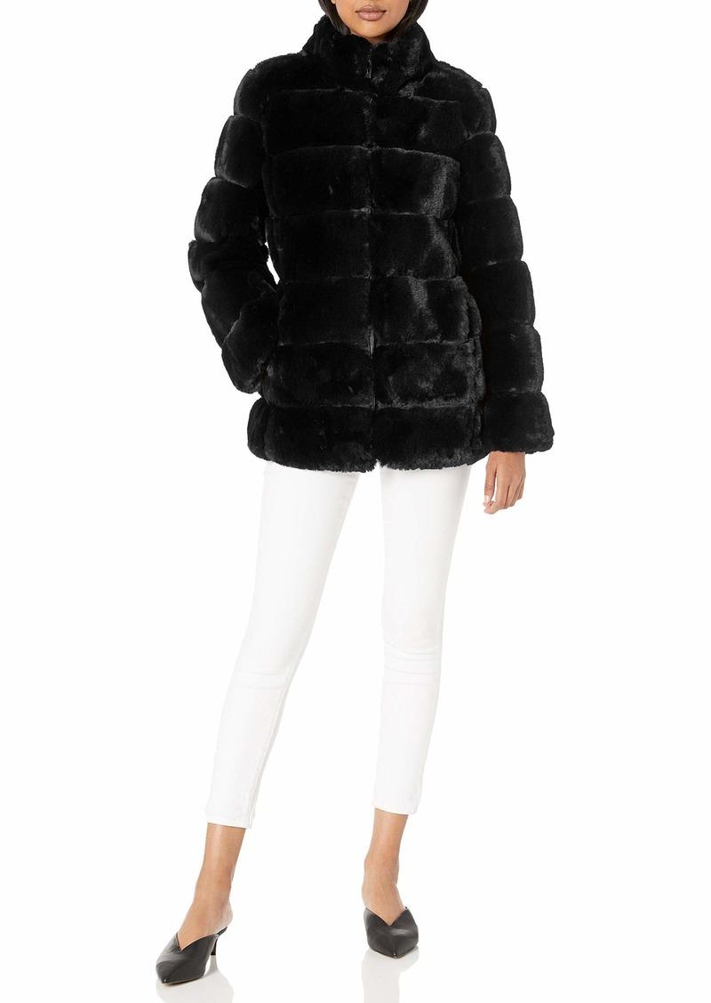 Via Spiga Women's Grooved Faux-Fur Reversible Jacket black