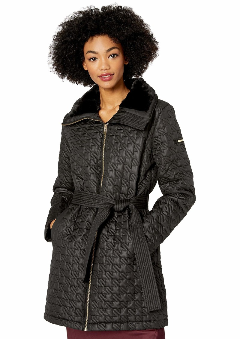 VIA SPIGA Women's Houndstooth Quilted Coat W/Faux-Fur Collar