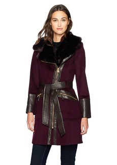 Via Spiga Women's Kate Mid-Length Belted Wool Asymmetric Zip Front Coat with Faux Fur Collar
