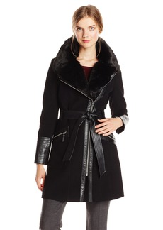 Via Spiga Women's Kate Mid-Length Belted Wool Asymmetric Zip Front Coat with Faux Fur Collar Black/Silver Zipper