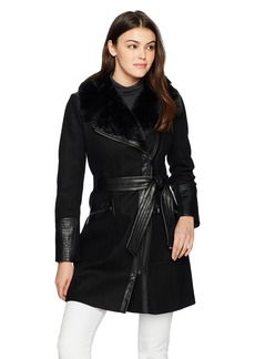 Via Spiga Women's Mid Length Belted Wool Coat With Faux Fur Collar and Asymetrical Zip Closure