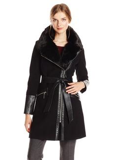 Via Spiga Women's Kate Wool Coat with Faux Fur Collar