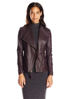 Via Spiga Women's Lightweight Leather Ponte Jacket