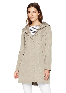 Via Spiga Women's Lightweight Packable Rain Jacket WIH Oversized Hood  S