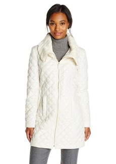 Via Spiga Women's Lightweight Quilted Jacket with Knit Collar  X-Small
