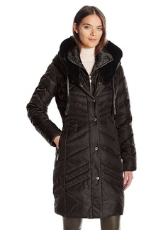 Via Spiga Women's Luxe Exaggerated Fold Over Hood Puffer With Faux Leather Jacket Tassels