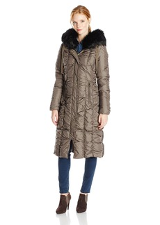 Via Spiga Women's Maxi Down Coat with Removable Faux Fur Trim Hood