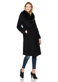 Via Spiga Women's Long Wool Coat With Suede Belt and Faux Fur Collar