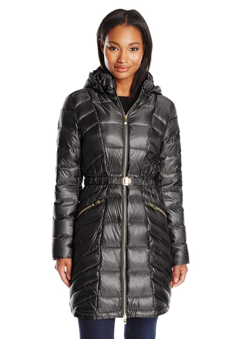 Via Spiga Women's Metallic Packable Down Coat With Belt