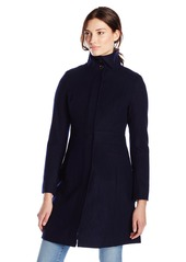 Via Spiga Women's Mid-Length Stand Collar Wool Coat with Waist Slimming Detail