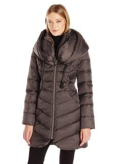 Via Spiga Women's Oversized Hood Chevron Quilted Down Coat