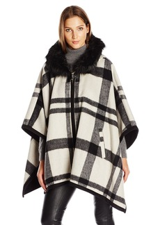 Via Spiga Women's Plaid Cape with Ff Trim Hood  X-Small/Small