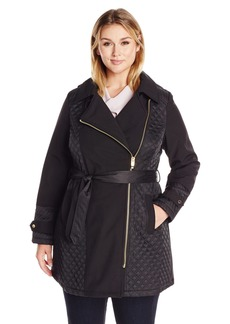Via Spiga Women's Plus-Size Asymmetric Hooded Mixed Media Soft Shell Jacket