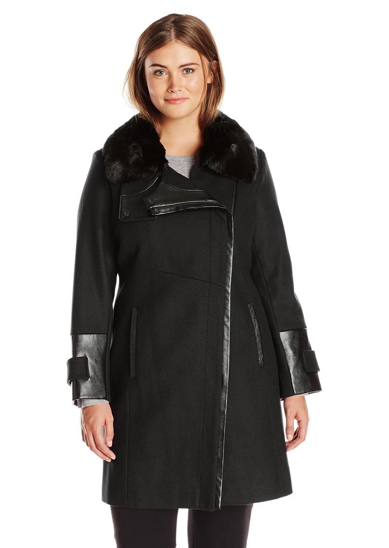 Via Spiga Women's Plus-Size Asymmetrical Zip Front Wool Coat with Faux Fur Collar  W