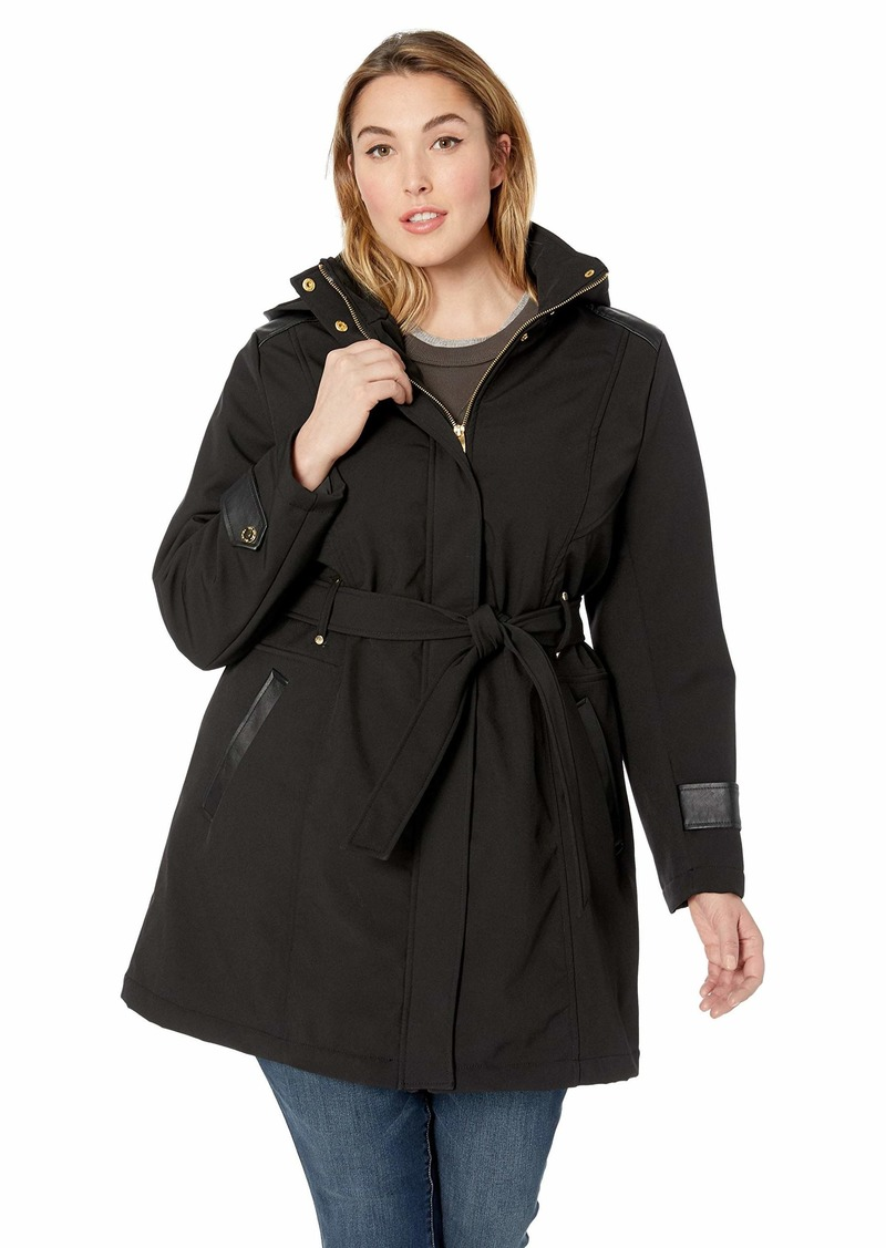 Via Spiga Women's Plus-Size Belted Soft Shell Hooded Jacket with Faux Leopard Lining