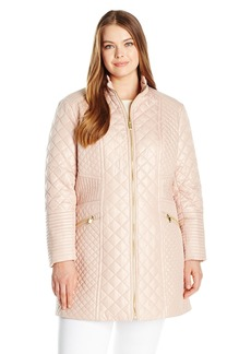 Via Spiga Women's Plus Size Diamond Quilted Mid-Length Lightweight Jacket