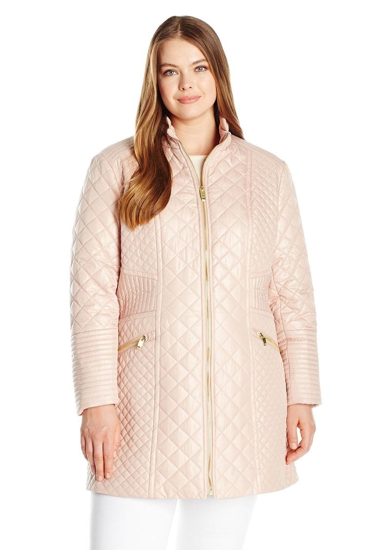 Via Spiga Women's Plus-Size Diamond Stand Collar Quilt Jacket