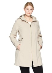 VIA SPIGA Women's Plus-Size Double Breasted Hooded Fit and Flare Lightweight Trench Coat