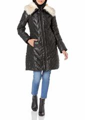 Via Spiga Women's Plus Size Down Coat with Faux Fur Collar