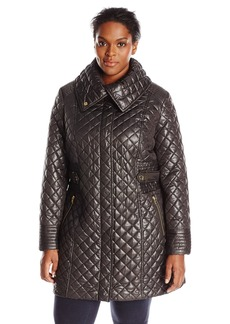 Via Spiga Women's Plus-Size Lightweight Quilted Jacket with Side Tabs