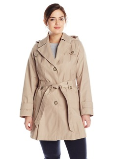 Via Spiga Women's Plus-Size Single-Breasted Belted Trench Coat with Hood