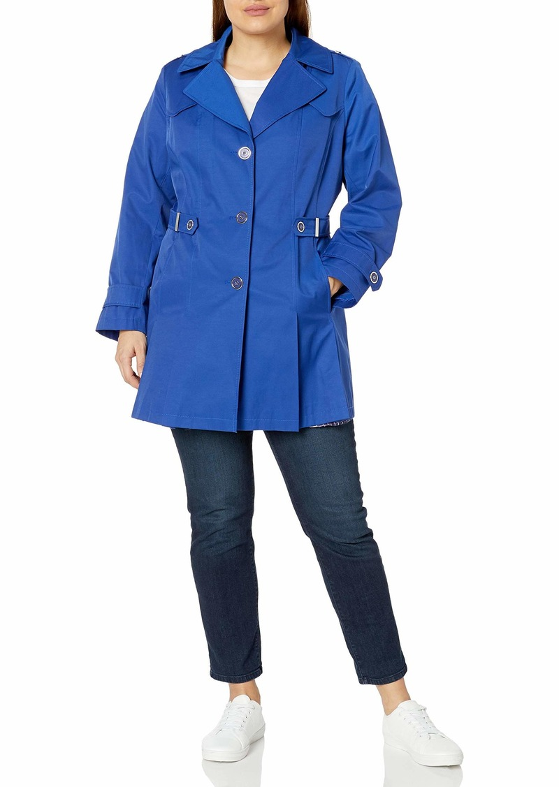 Via Spiga Women's Plus-Size Single Breasted Pleated Trench Coat