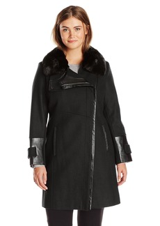 Via Spiga Women's Plus-Size Wool Coat with Faux Fur Collar  W