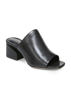Via Spiga Women's Porter Leather Block Heel Slide Sandals