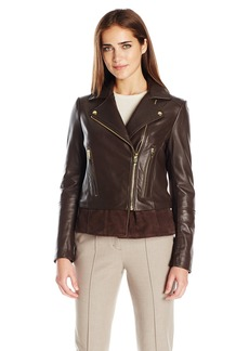 Via Spiga Women's Real Leather Moto Jacket