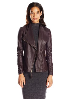 Via Spiga Women's Lightweight Leather Jacket with Tassel Detail