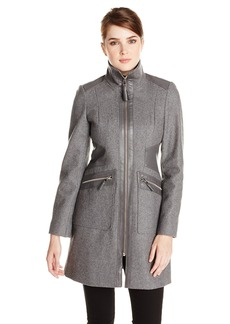 Via Spiga Women's Sexy Wool Walking Coat with Gold Hardware and Vegan Leather Trim