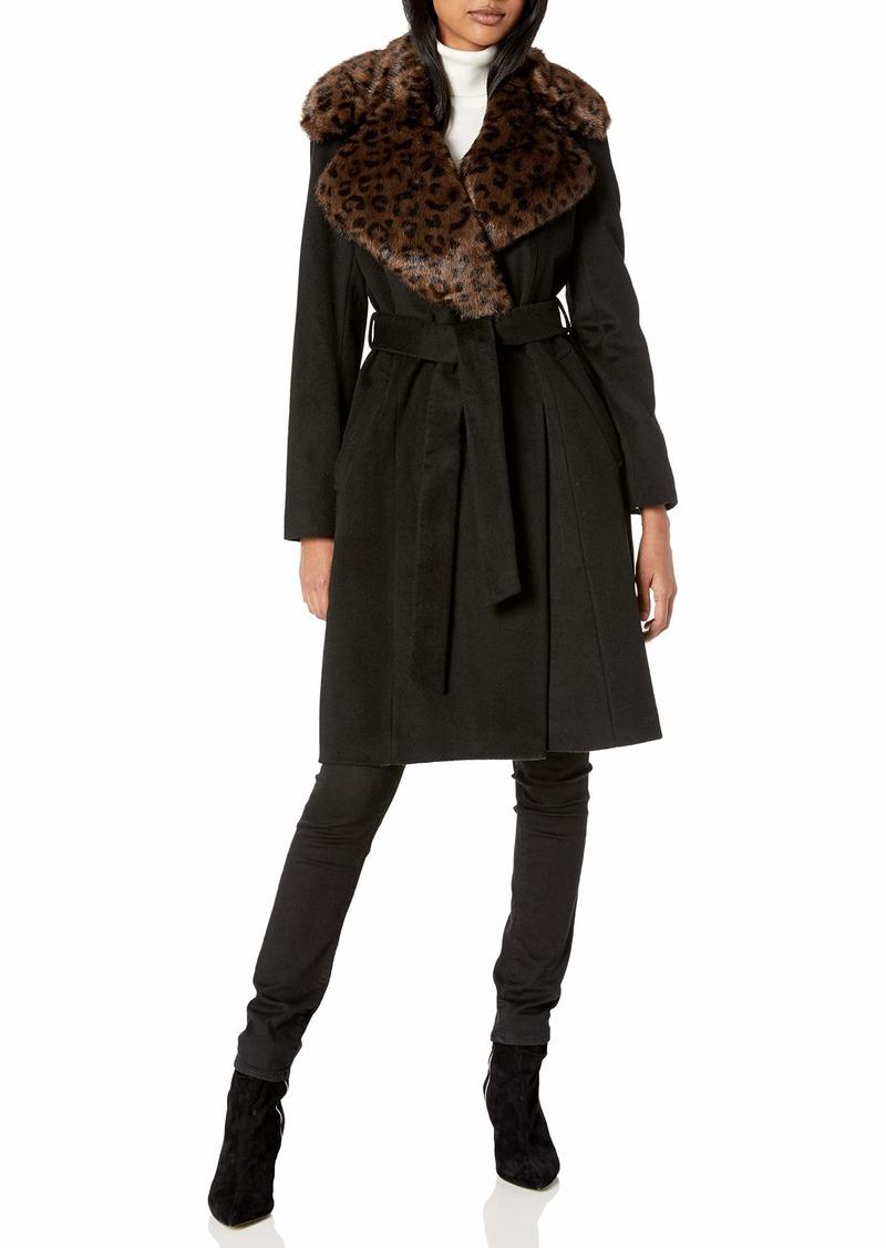 VIA SPIGA Women's Single Breasted Wool Maxi Jacket W/Faux-Fur Collar