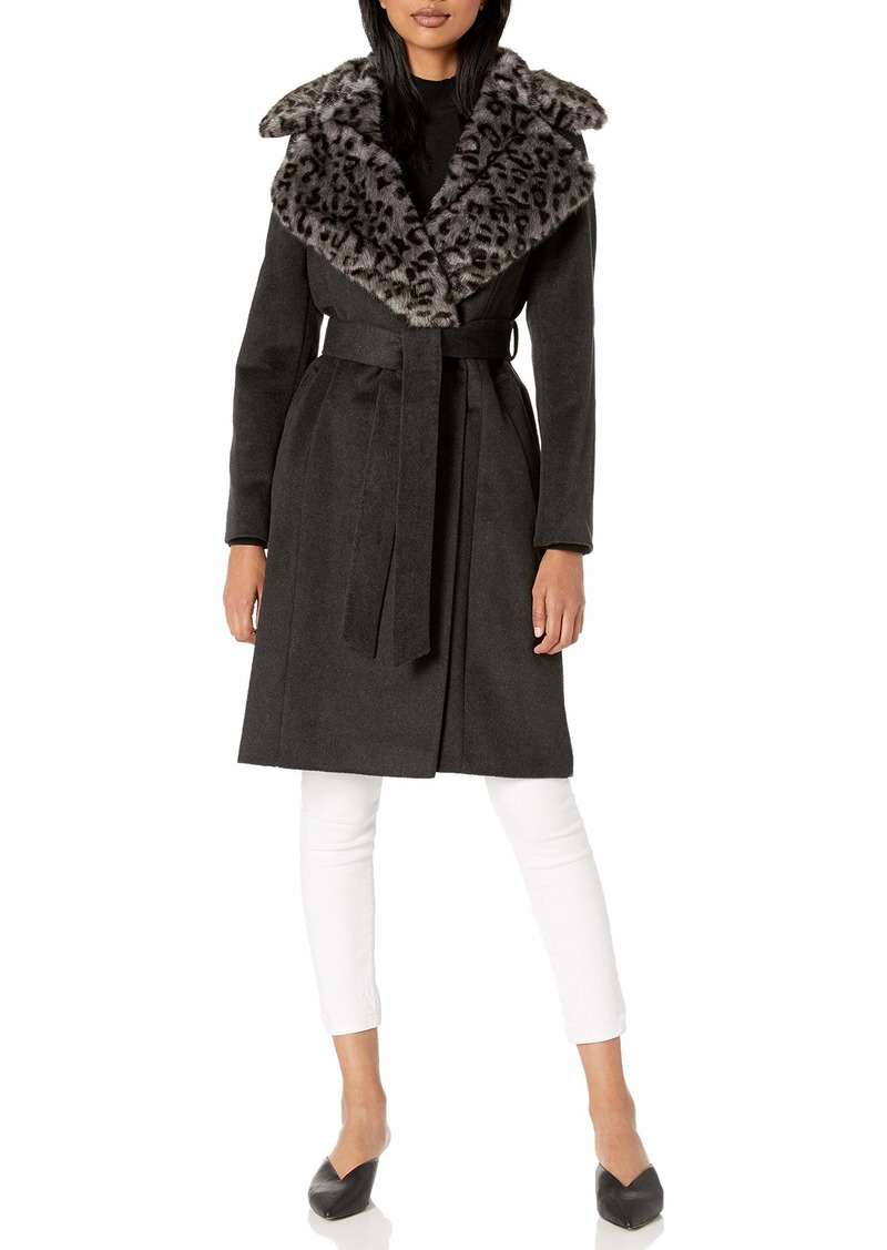 VIA SPIGA Women's Single Breasted Wool Maxi Jacket W/Faux-Fur Collar