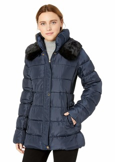 Via Spiga Women's Slimming Puffer Jacket with Side Tabs and Faux Fur