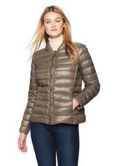 Via Spiga Women's Snap Front Packable Down Jacket