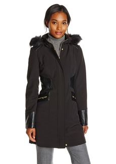 Via Spiga Women's Softshell Jacket with Faux Fur Trim Hood
