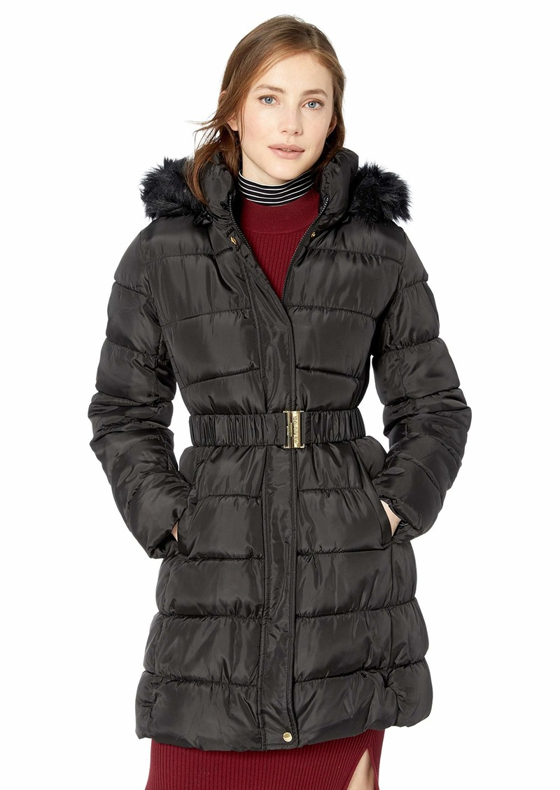 VIA SPIGA Women's Three Quarter Belted Puffer Jacket with Faux Fur Trimmed Hood