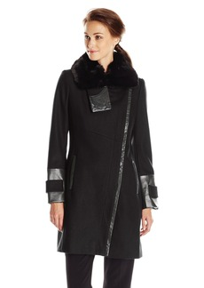 Via Spiga Women's Wool Coat with Faux Fur Collar